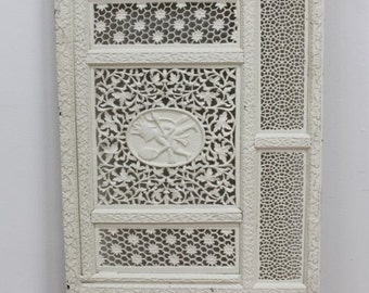 Antique Moroccan Lattice Carved Wood Screen