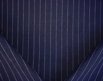 2-1/8 yards Ralph Lauren LFY64101F Walker Pinstripe in Navy - Midnight Linen Ticking Stripe Upholstery Drapery Fabric - Free Shipping