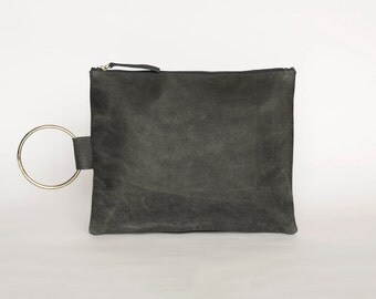 Gray Leather Purse, Leather Handbag, Gray Clutch Bag, Leather Wristlet Clutch, Wallet Clutch, Evening Purse, Leather Wristlet Purse