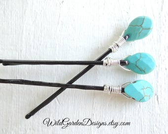 Turquoise Stone Hair Pins Boho Wire Wrapped Turquoise Howlite Set of 3 Hair Pins Bohemian Wedding Hair Accessory Decorative Bobby Pins