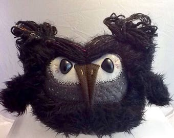 Jenni A Black And Grey Plush Owl with Neon Highlights