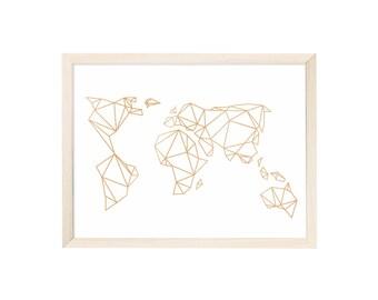 Art Print Geometric Earth Gold