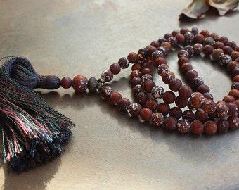 Beautiful frosted Tibetan style agate gemstone mala necklace