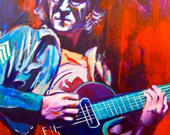 "John Lennon 12""x18"" Texas Austin Giclee Poster Musician Guitar Celebrity Print Wall Art Colorful Abstract Pop Art"
