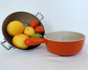 A vintage french Le Creuset cast iron cooking pot from the 1970s