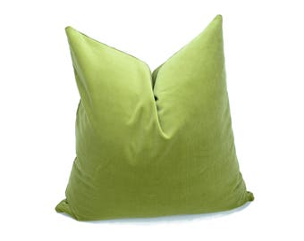 sage green velvet pillow case // sage green velvet cushion  // green pillow cover // green velvet pillow