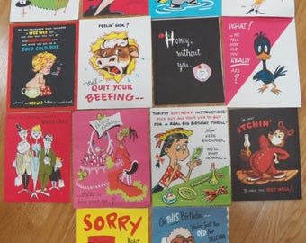 """Vintage Lot 14 """"A NOVO LAUGH"""" Greeting Cards~Birthday/Get Well~Pop Ups/Features"""