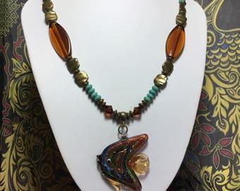Bronze murano Glass Fish Necklace.