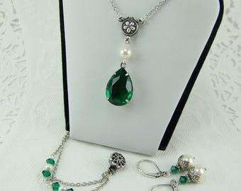 Emerald Necklace Earring Set, Teardrop Emerald, Pearl Earrings, Emerald Earrings, Pearl Necklace, May Birthstone,June Pearl,Emerald Necklace