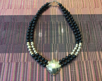 Sterling and Black Beaded Double Strand Necklace