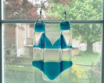 Fused Glass Vase - Wall Vase - Bikini - Beach Decor - Pool Decor - Bathing Suit - Swimmer Gift - Flower Vase - Bud Vase - Housewarming Gift