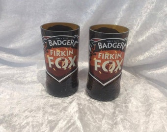 Badger Firkin Fox  Beer Glasses (Recycled Bottles) Set of 2