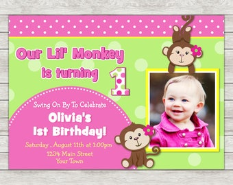 Monkey Girl Birthday Invitation, Pink Monkey Invite, Girl Monkey - Printable File or Printed Invites