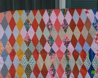 Hand Made Quilt - Colorful, Diamonds, Cotton - Vintage - Fabulous!