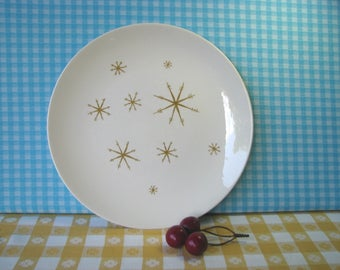 Star Glow Dinner Plate - 6 Available - Mid Century - Gold Starburst - Atomic Snowflake - Royal China - Ironstone -  Vintage 1960's
