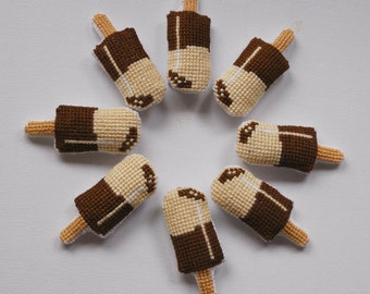 Summer Party favors. Chocolate and Cream cross stitch brooches. Baptism favor. Funny pin birthday gift. Kawaii . Gift under 15euros (1pc)
