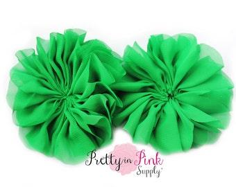 Emerald Large Double Ruffle Flowers...Chiffon Flower...Chiffon Ruffle Flowers...DIY Headbands...Wholesale