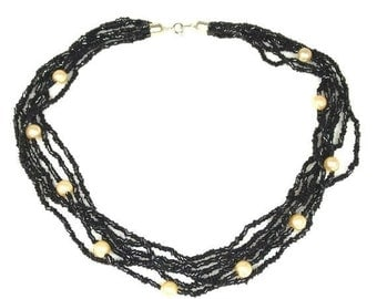 1970s Glass Faux Pearl Black Bead Six Strand Necklace