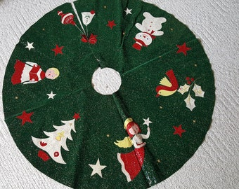 Vintage GREEN Christmas Tree Skirt- Applique - Felt - Handmade Hand Made Christmas Tree Snowman Angel Ornaments