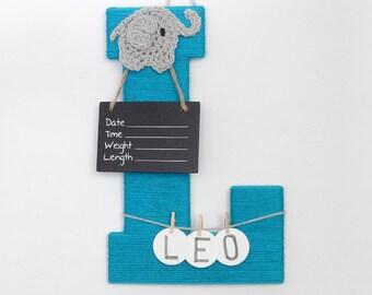 Hospital door hanger Letter L, Personalized name color and embellishment