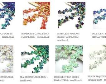 FLORAL IRIDESCENT SEQUIN trim, trimming, costume, sequin edging, stones, beads