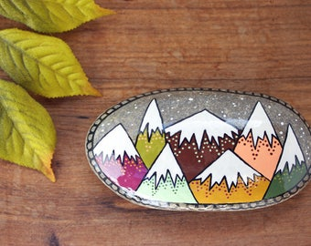"Mountain Painted Rock, 2"" by 4"" Hand-Painted Stone, Painted Mountains, Painted Rock Paperweight"