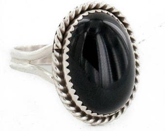 130 retail tag .925 sterling silver handmade authentic made by robert little navajo natural black onyx native american ring  16998-1