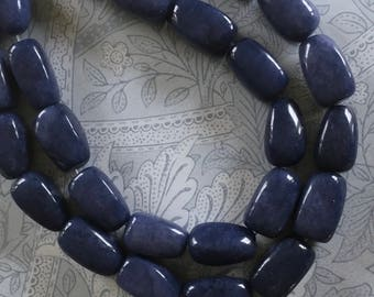 Large Blue Jade Nugget Beads, 15mm x 24mm, 6Pcs