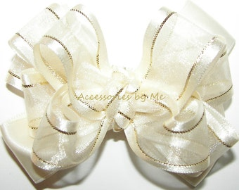 Ivory Gold Hair Bow, Organza Satin Lame Ribbon Hairbow,  Baby Girls Toddler Children's Accessories Clip, Flower Girl Bows, Pageant Hairbows