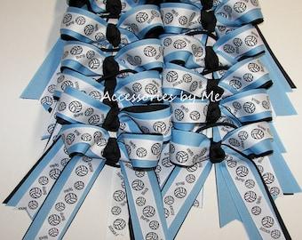 12 Volleyball Bows, Bow Bundle, Discount Lot, Volley Balls Blue Black Ribbon Bow, Custom Ponytail Holders, Elastics, Volleyballs Team Spirit