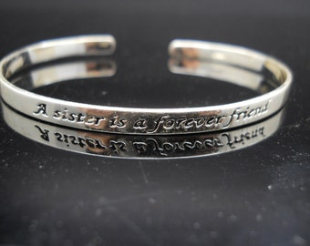 Inspirational Cuff Sterling Silver Bracelet 925 Sister Jewelry 7 Inch Adjustable
