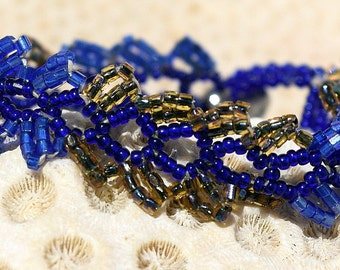 Vintage, Feathery, Seed Bead, Bracelet, SOLD AS IS, Size 11 Seed Beads, One of a Kind, by Helen Jewlery Origional,