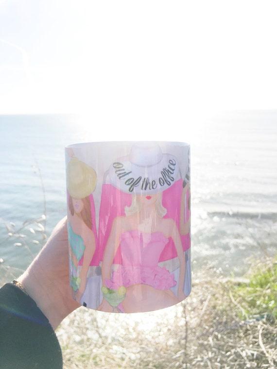 Out of the office mug, beach mug, boss mug, girly mug, coffee lover, gifts for her, beach lover, pink mug, pink lover, margarita lover