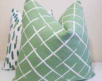 Robert Allen Madcap Cottage Cove End in Palm Green -Pillow Cover -Throw Pillow - Euro Sham - Lumbar Pillow
