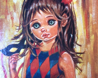 Vintage Big Eye Idylle Print of Dancing Girl mounted on a board, Harlequin