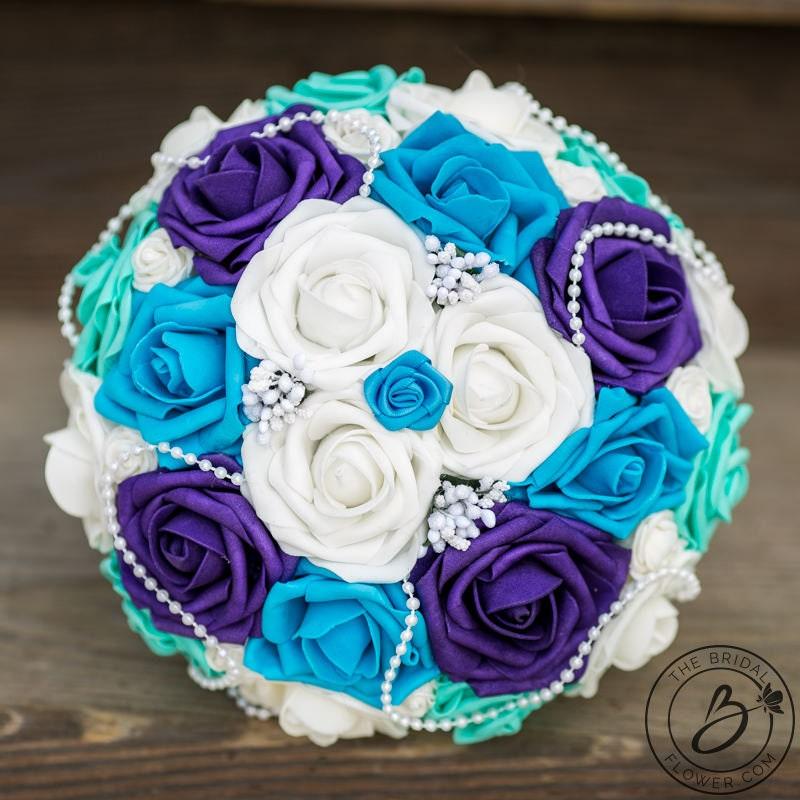 Wedding Bouquet Purple And Turquoise Bridal Bouquet Aqua