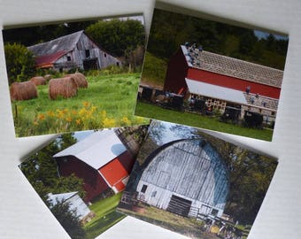 Photo Greeting Cards, Barns, Note Cards, Stationery, Wisconsin Barns, Premium Quality, Set of 4 With Envelopes