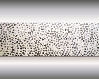 """Acrylic Painting Large Painting Abstract Wall Art Canvas Art Wall Deco Textured White Metallic Silver Squares Ready to Hang 60 x 20"""""""
