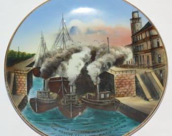 "Vintage Sault Ste. Marie, MI Grounded Freighter 6"" Souvenir Plate Jonroth Studio, Germany"