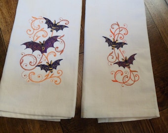 Set Of Two Embroidered Kitchen Tea Towels Filigree MYSTICAL BATS in FLIGHT Design