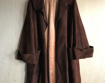 """40's """"Jaques Suedes"""" Brown Suede Leather Coat"""