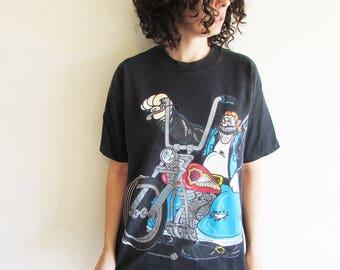 Vintage 90s Black Popeyes Bluto/Brutus Riding a Motorcycle/ Cartoon Funny/ Biker T Shirt
