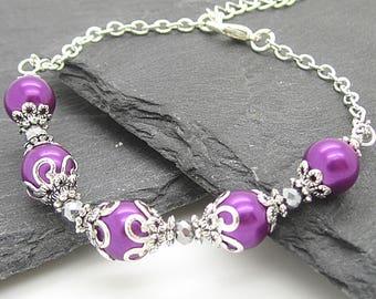 Sangria Bridesmaid Pearl Bracelet, Purple Wedding Jewellery, Plum Bridesmaid Bracelets, Bridal Party Gifts, Matching Bridal Sets, Pearl Set