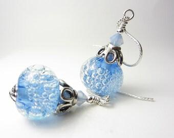Artisan Lampwork Aquamarine Earrings Light Blue Earrings Sky Blue Earrings Sterling Silver Bubble Glass Earrings Rare Lampwork Gift for Her