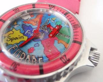 Animated Airplane Watch - 1980s Novelty Wristwatch - Rare Bi Plane Manual Wind - Hot Pink Plastic Band - British Colony - Hong Kong
