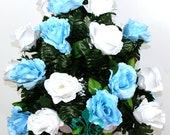 XL Beautiful Spring Baby Roses Cemetery Flower Arrangement for a 3 Inch Vase