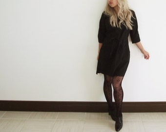 Simple minimalist cotton little black dress