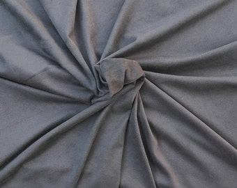 Gray Micro Suede Spandex Fabric Faux Suede by the Yard 1/17
