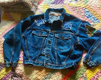 Vintage Denim Jean Jacket - Vintage Patches - 1980's Denim Jacket - Size medium - Pepe London