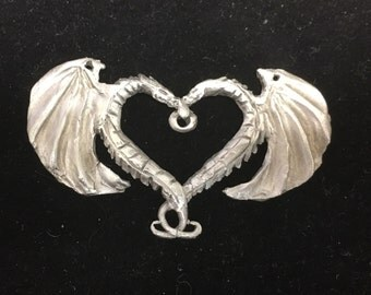 Dragons heart pewter charm for necklace